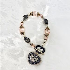 Silver and Pink Charm Bracelet